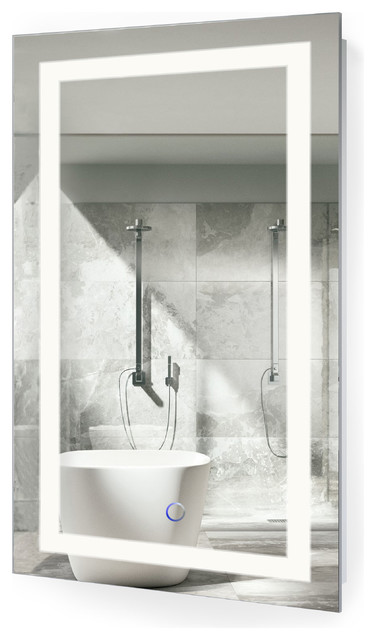 "LED Lighted Bathroom Mirror With Defogger and Dimmer, 18""x30"""