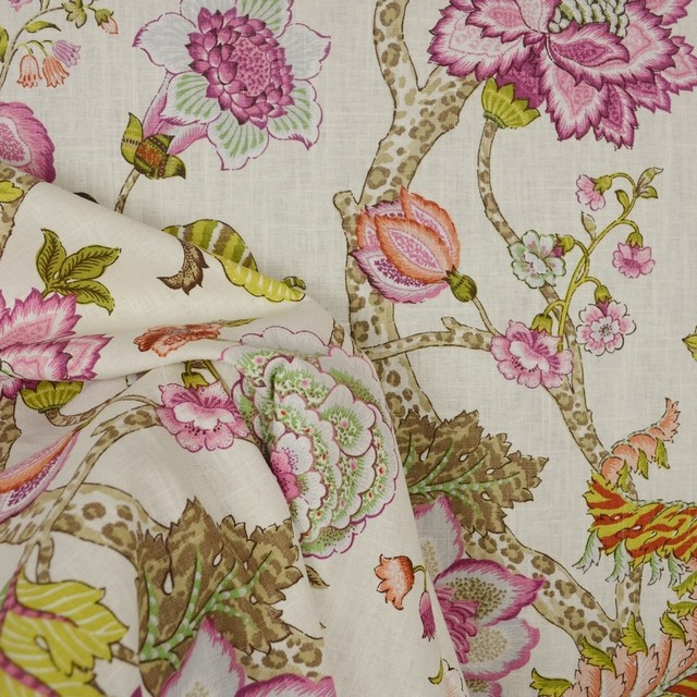 Malawi Hibiscus Jacobean Floral Fabric, Sample