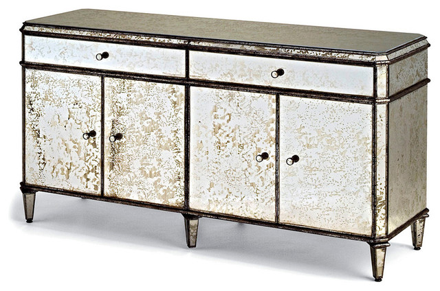 Antiqued Mirror Credenza Transitional Buffets And