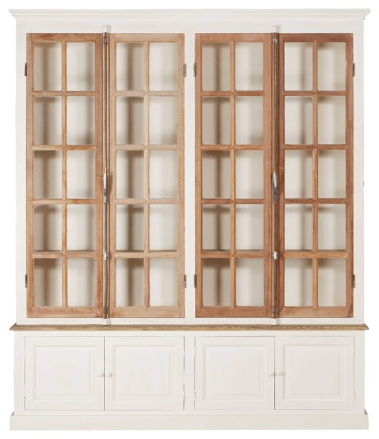 Portes Antique French Country 4 Door White Pine Cabinet Curio ...