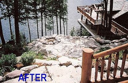 Outdoor Fire pit  terrace Lake side between main cabin and Boat house