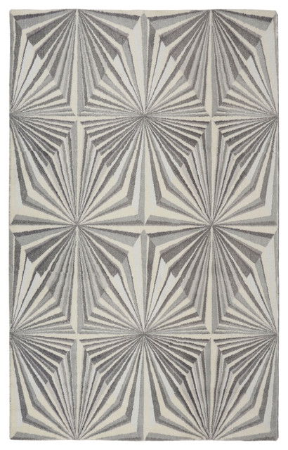 Gray Illusion Modern Geometric Area Rug, 5&x27;x7&x27;.