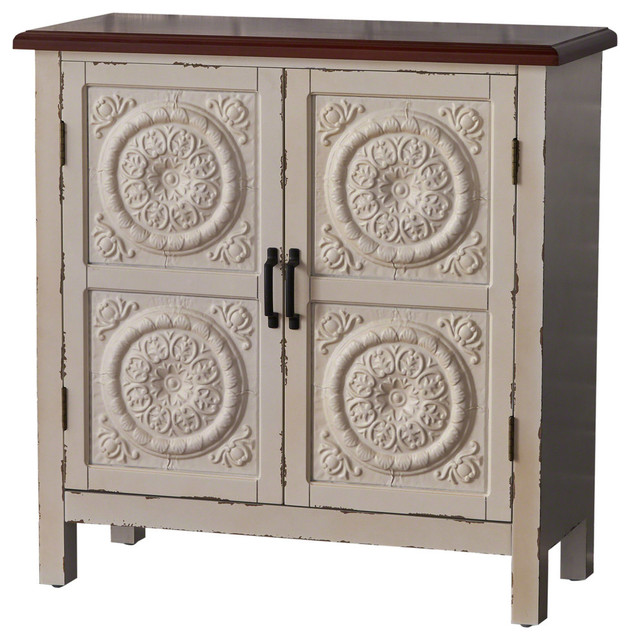 Ordinaire Aliana Farmhouse Distressed Firwood Cabinet With Carved Panels