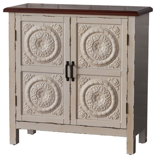 Aliana Farmhouse Distressed Firwood Cabinet With Carved Panels