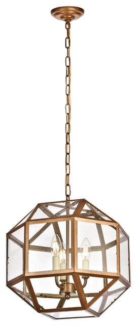 "Caro 3-Light Pendant Light, 14"", Finish: Vintage Gold."