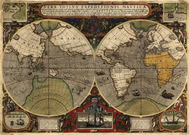Antique World Map Mural Traditional Wall Decals By Walls Republic