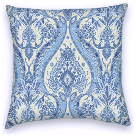 Blue Cream Cotton Ikat Decorative Throw Pillow Cover - Mediterranean - Decorative Pillows - by ...