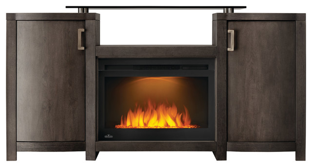 Napoleon Cinema Glass Series Electric Fireplace With Whitney Mantel.