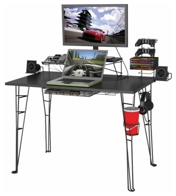 Pemberly Row Gaming Desk, Black.