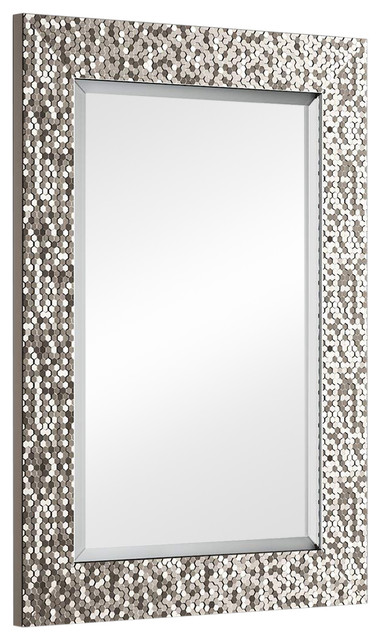 Wall Mounted Mirror, Pewter Bevelled Edge Design, Simple Modern Style