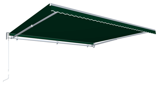 12&x27; Destin With Hood Left Motor/remote Retractable Awning, Forest Green.