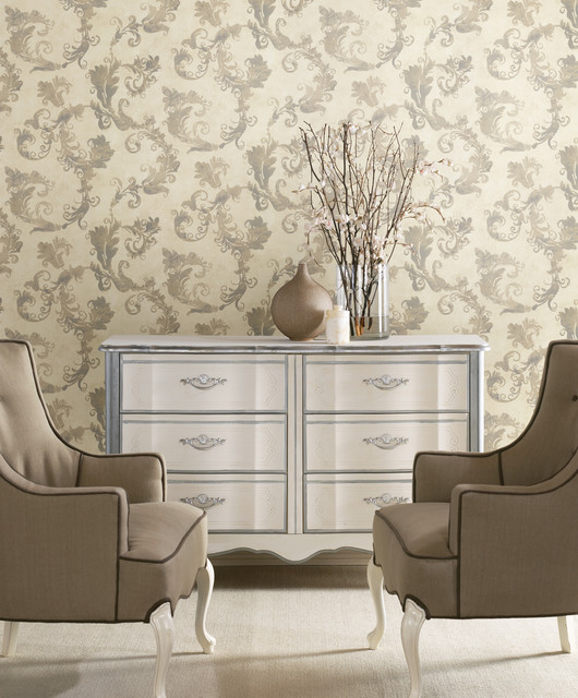Pretty Wallpaper Traditional Living Room Other By American