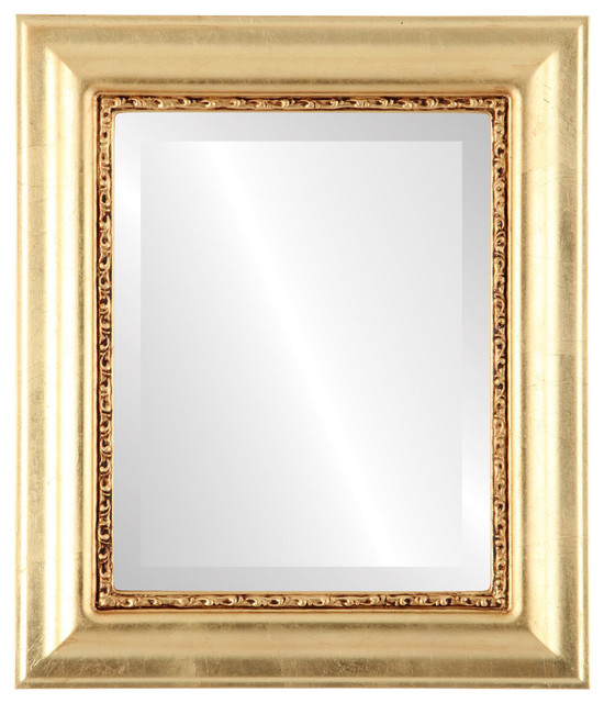 Chicago Framed Rectangle Mirror In Gold Leaf, 29x35.