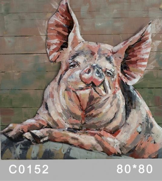 Adorable Pig Wall Decor Metal Art Paintings Solid Animals