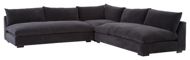 Hanz Modern Black Armless Sectional Sofa