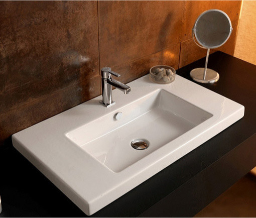 built in bathroom sink rectangular white ceramic wall mounted vessel or built 17560