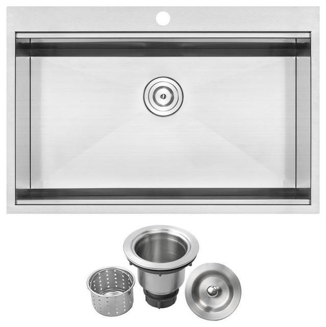 "33"" Zero Radius Drop-In 16G Stainless Steel 1-Hole Single Basin Kitchen Sink"