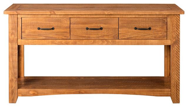 Martin Svensson Home Rustic Sofa Console Table, Honey Tobacco