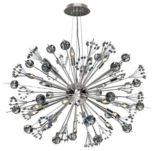 starburst 20light chrome and crystal sputnik chandelier chandeliers - Starburst Chandelier
