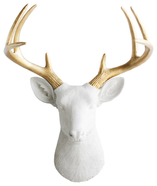 Wall Charmers Faux Deer Gold Antler, White