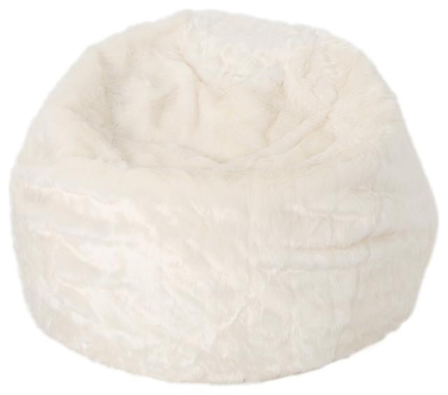 9c25a5323d Laraine Furry Glam White Faux Fur 3  Bean Bag - Contemporary - Bean ...