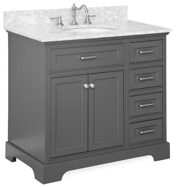 Aria 36 Quot Single Bathroom Vanity Carrara Charcoal Gray