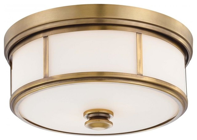 Harbour Point 2-Light Flush Mount Liberty Gold Etched Opal Glass.