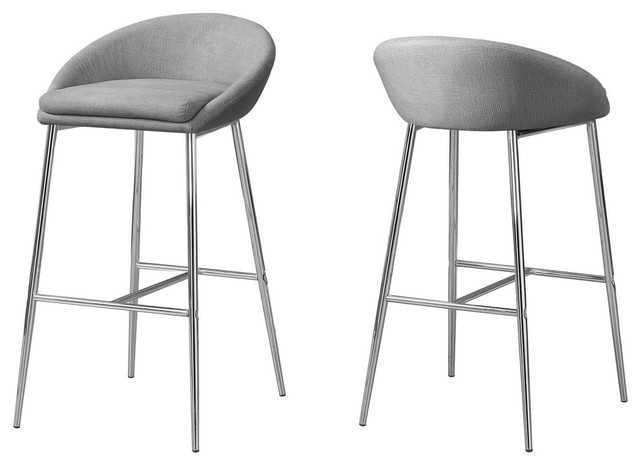 Astonishing Gray Fabric Stools With Chrome Base Set Of 2 Counter Height Ibusinesslaw Wood Chair Design Ideas Ibusinesslaworg