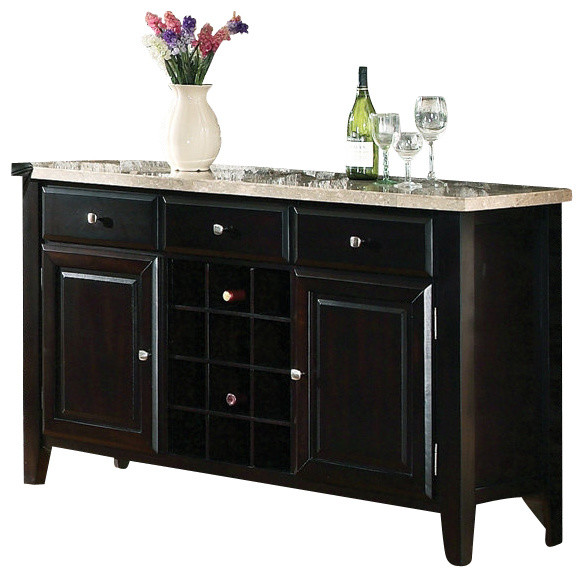 Steve Silver Monarch Marble Top Server With Wine Rack  Traditional Buffets And Sideboards