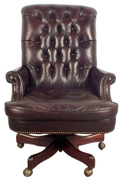 vintage tufted dark burgundy leather office chair - office chairs
