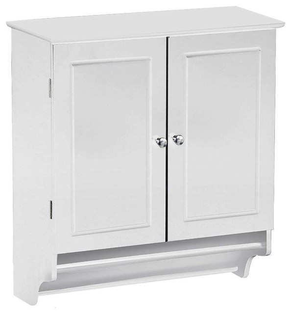 White Bathroom Wall Cabinet With Storage Shelf And Towel Bar Beach Style Bathroom Cabinets By Hilton Furnitures