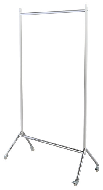 "Happimess Sophia Single-Bar 70.8"" Garment Rack, White/chrome."