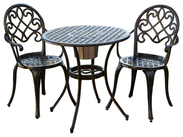 Elegant Palermo Copper Cast Aluminum Bistro 3 Piece Set Traditional Outdoor  Dining Sets