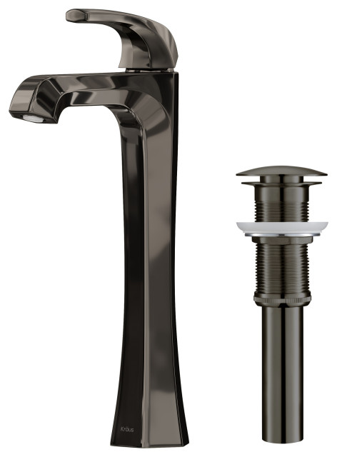 Esta Single Handle Lever 1-Hole Vessel Bathroom Faucet Gunmetal w PU Drain