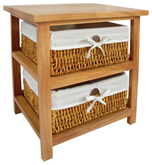 Paulownia Maize Wooden Storage Unit With 2 Baskets Natural Country By Premier Housewares