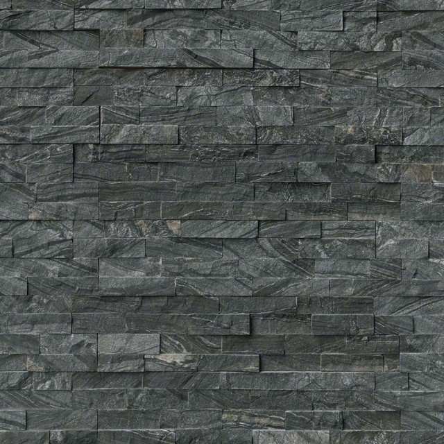 Glacial Black Stacked Stone Split Face 6x24 Marble Hardscape 10 Sqft