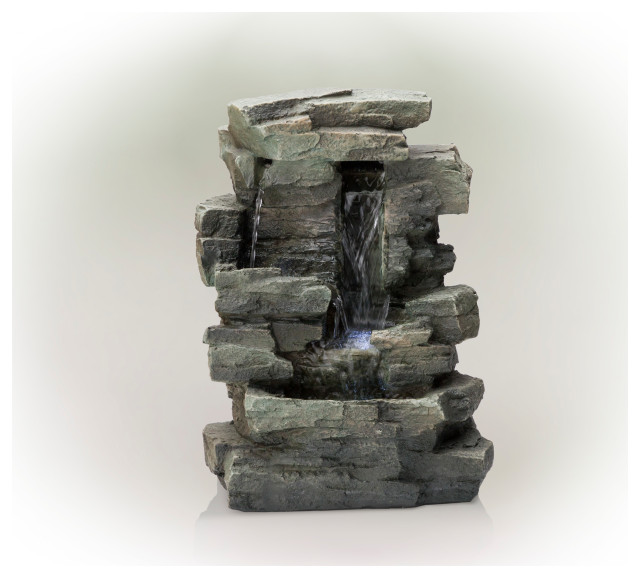 """Alpine Waterfall Tabletop Fountain With White LED Light, Gray, 13"""" Tall"""