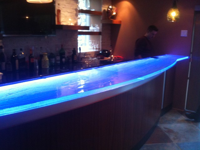 Glass Counter Top With Led Contemporary Kitchen