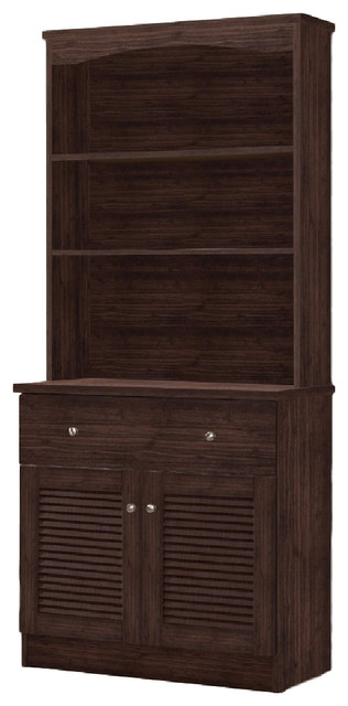 Agni Modern and Contemporary Dark Brown Buffet and Hutch Kitchen Cabinet - Traditional - China ...