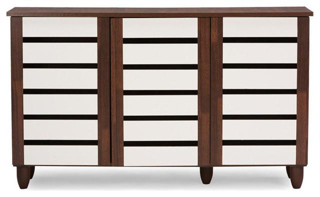 Gisela Oak and White 2-tone Shoe Cabinet With 3 Doors