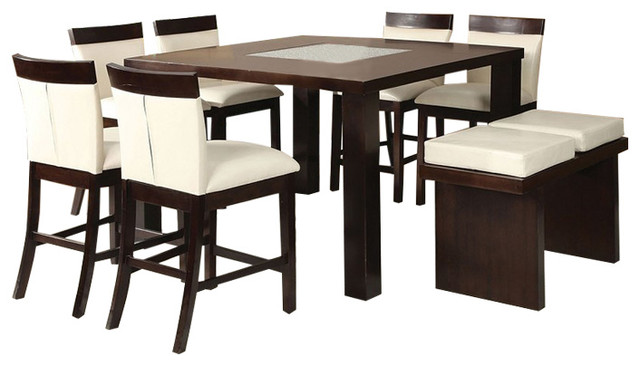 Keelin Modern Espresso Finish Counter Height 8 Piece Dining Table And High  Bench