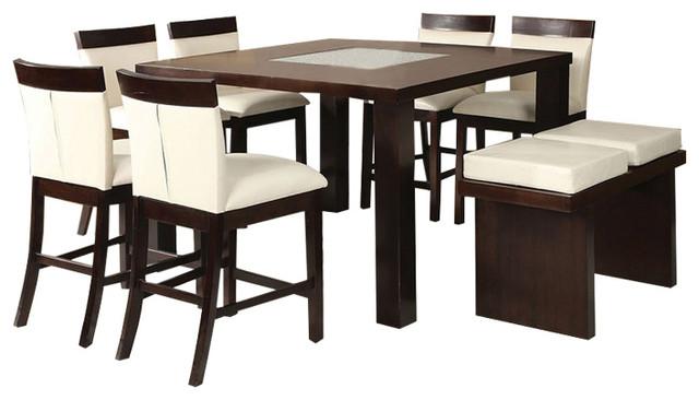 Keelin Modern 8-Piece Dining Set Espresso Finish  sc 1 st  Houzz & Keelin Modern 8-Piece Dining Set Espresso Finish - Contemporary ...