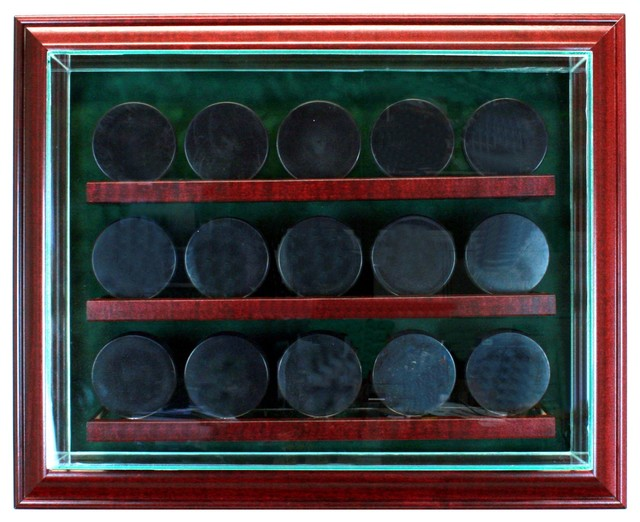 15 Hockey Puck Cabinet Style Display Case - Traditional - Storage And Organization - by Perfect ...