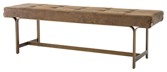 Lindy Bench, Antique Brass, Umber Gray.