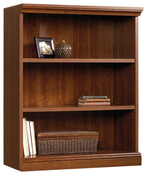 Sauder Camden County 3 Shelf Bookcase In Planked Cherry Finish Traditional Bookcases