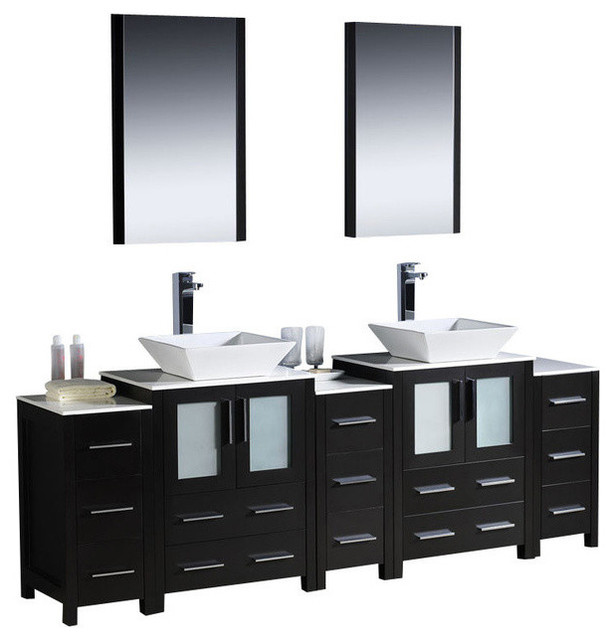 84 Inch Double Bathroom Vanity With Side Cabinets