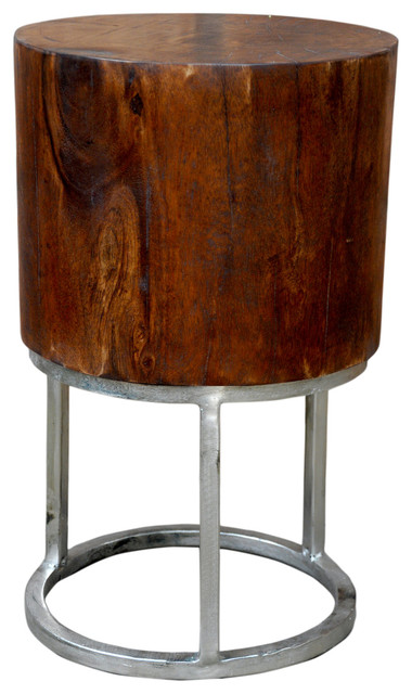 Deep Mango Wood Stool Table Sanders With Round Silver