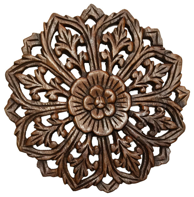 Round Wood Wall Art round teak wood oriental carved wall plaque. floral relief wood
