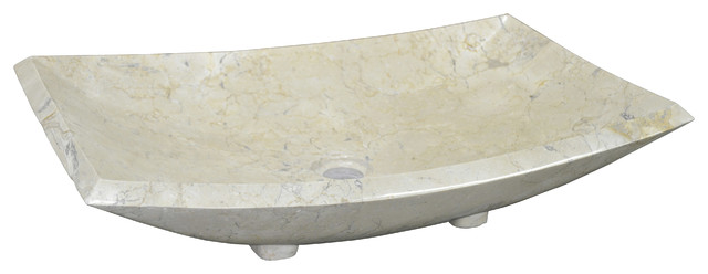 Abilene Modern Classic Rectangular Bowl White Marble Bath Sink.