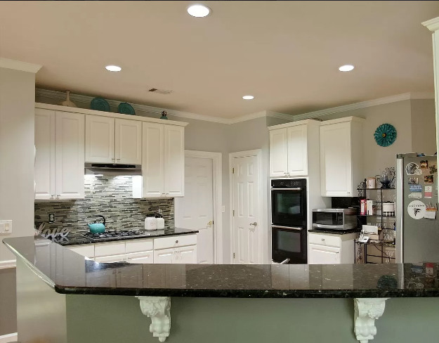 Half open space of kitchen and dining area